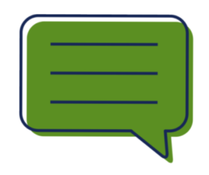 Graphic depicting a speech bubble, with blank lines.
